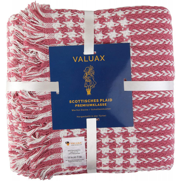 Valuax Bedspread, Bed Throws, Cotton Blanket, Sofa Blanket, Blanket - Very Soft, Breathable and Stylish Plaid Soft Summer Blanket & Winter Blanket with Fringes (130 x 170 cm) (Pink)