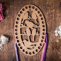 Lonjew Thread Sorter Oval Wooden Embroidery Floss Organizer Art Cute Design LLZ(F)-009