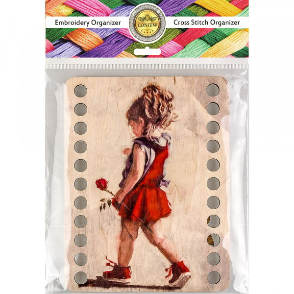 Lonjew Girl in Red Dress Themed Wood Painting, Wooden Thread Organizer LLZ-003(М-9)